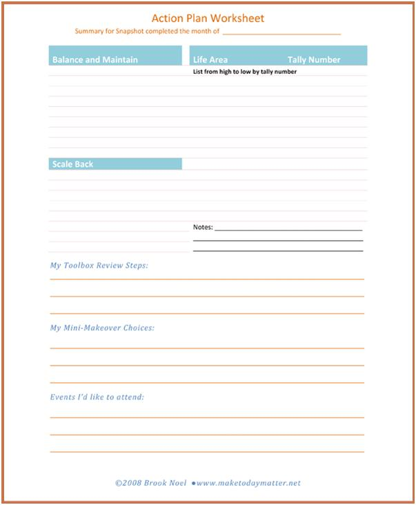 Snapshot and Action Plan – Action Plan Worksheet